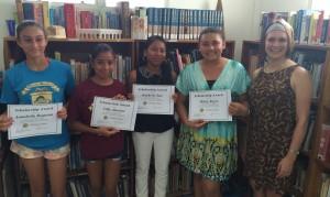 Mindy Rowlands and Ocean Academy Scholars Annabella, Milvia, Kimberly, Lilly